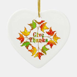 Donnez les mercis ornement cœur en céramique
