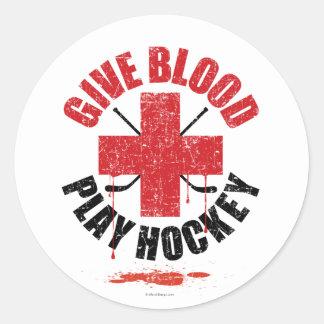 Donnez l'hockey v1 de jeu de sang sticker rond