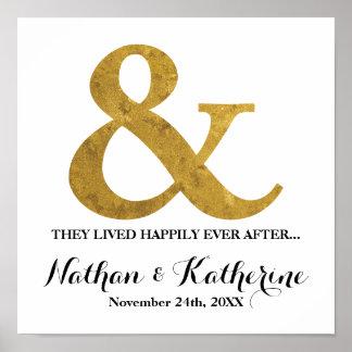 D'or d'esperluète date de mariage heureusement posters