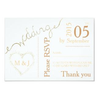 D'or - regard l'épousant blanc de carte postale de carton d'invitation 8,89 cm x 12,70 cm