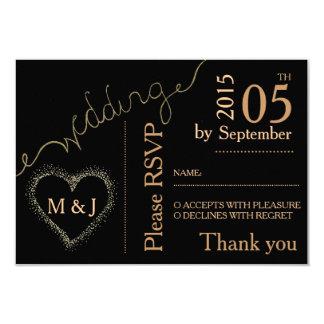 D'or - regard l'épousant noir de carte postale de carton d'invitation 8,89 cm x 12,70 cm