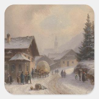 Dorfstr vintage Allemagne en hiver Stickers Carrés