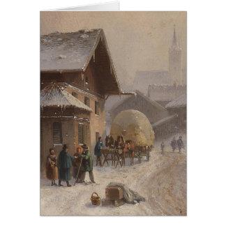 Dorfstr vintage Allemagne en hiver Carte De Vœux