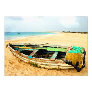 Doris de pêche sur la plage cartons d'invitation