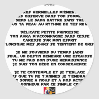 DORS - Poème - Francois Ville Sticker Rond