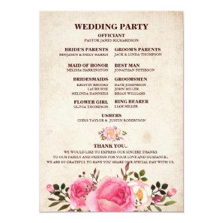 Dos floral de fan de programme de mariage de pays