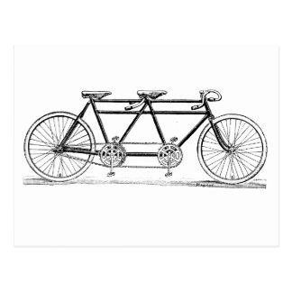 Double bicyclette vintage carte postale