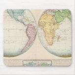 Double carte d'hémisphère du climat tapis de souris
