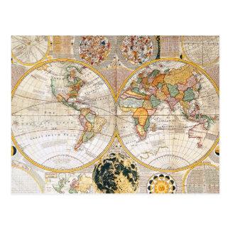 Double carte du 18ème siècle d'hémisphère