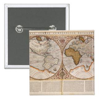 Double carte du monde d'hémisphère, 1587 pin's
