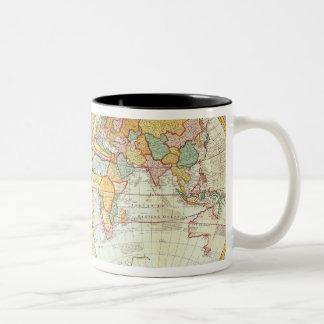Double carte du monde d'hémisphère mug bicolore