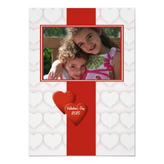 Double carte photo de Saint-Valentin de coeur Faire-parts