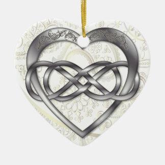 Double coeur 2 d'argent d'infini - ornement