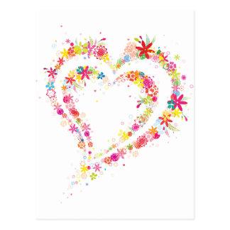 Double coeur de fleur cartes postales