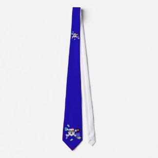 double crâne ringard et cravate bleue d'os croisés