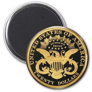 Double Eagle pièce de monnaie de $20 Magnet Rond 8 Cm