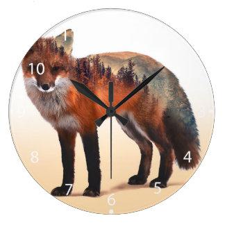 Double exposition de Fox - art de renard - renard Grande Horloge Ronde