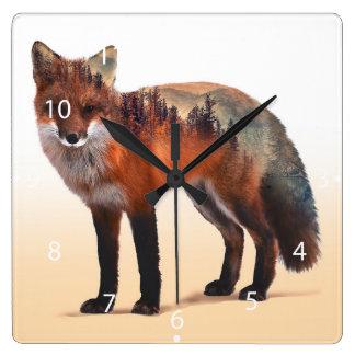 Double exposition de Fox - art de renard - renard Horloge Carrée