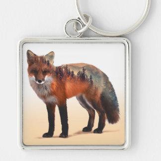 Double exposition de Fox - art de renard - renard Porte-clé Carré Argenté