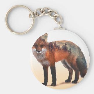 Double exposition de Fox - art de renard - renard Porte-clé Rond