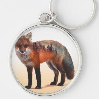 Double exposition de Fox - art de renard - renard Porte-clé Rond Argenté