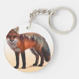 Double exposition de Fox - art de renard - renard Porte-clés