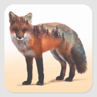 Double exposition de Fox - art de renard - renard Sticker Carré