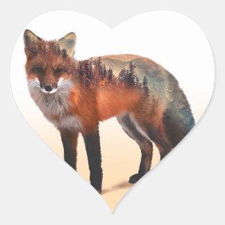 Double exposition de Fox - art de renard - renard Sticker Cœur