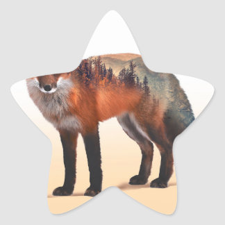 Double exposition de Fox - art de renard - renard Sticker Étoile