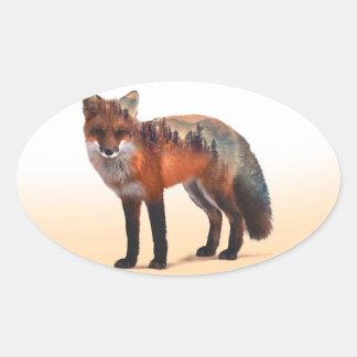 Double exposition de Fox - art de renard - renard Sticker Ovale