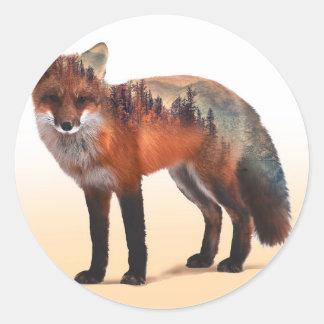 Double exposition de Fox - art de renard - renard Sticker Rond