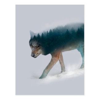 Double exposition de loup - forêt de loup - loup carte postale