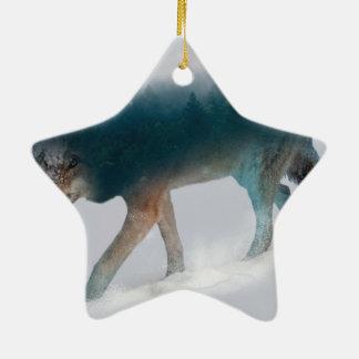 Double exposition de loup - forêt de loup - loup ornement étoile en céramique