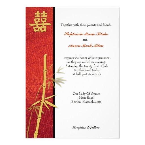 Double faire-part de mariage asiatique de rouge de