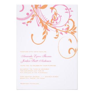 Double faire-part de mariage floral orange et rose