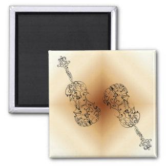 Double gribouillage de violon magnet carré