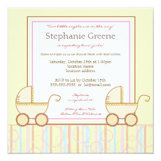 Double invitation de baby shower de fille de