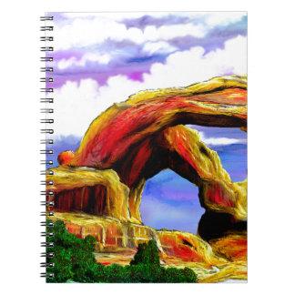 Double peinture de paysage de voûte carnet