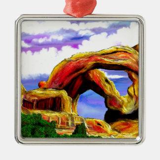 Double peinture de paysage de voûte ornement carré argenté