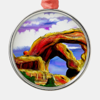 Double peinture de paysage de voûte ornement rond argenté