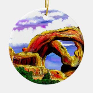 Double peinture de paysage de voûte ornement rond en céramique
