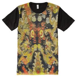 Double rouleau antique de dragon t-shirt tout imprimé