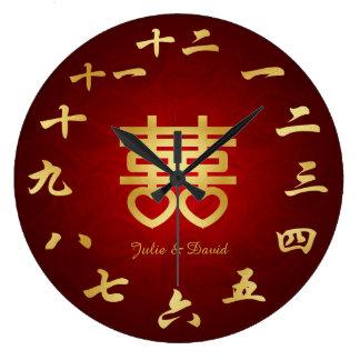 Double symbole chinois de Hapiness - ajoutez le no Horloge Murale