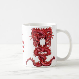 Double tasse rouge de dragon