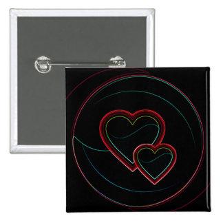 Doubles coeurs dans le noir badge