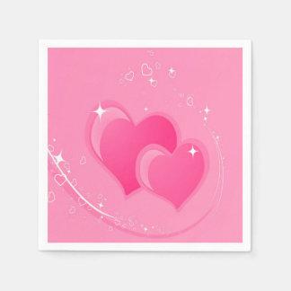 Doubles coeurs roses serviette en papier