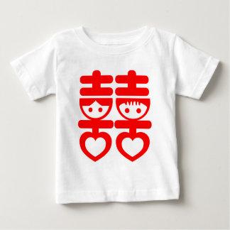 Doubles couples mignons heureux t-shirt pour bébé