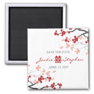 Doubles économies rouges de bonheur de Sakura Magnet Carré