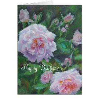 Doucement carte d'anniversaire de rose de rose