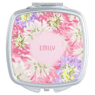 Doucement rose et monogramme floral mauve miroirs de poche